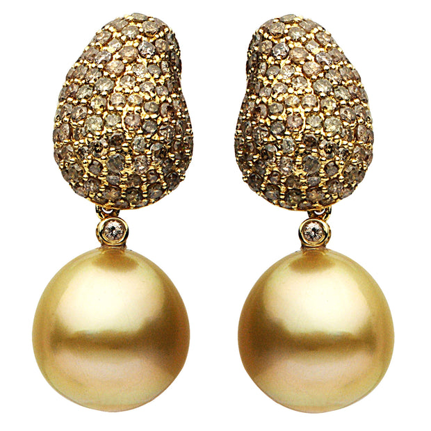 DSL Golden South Sea Pearl & Diamond Earrings