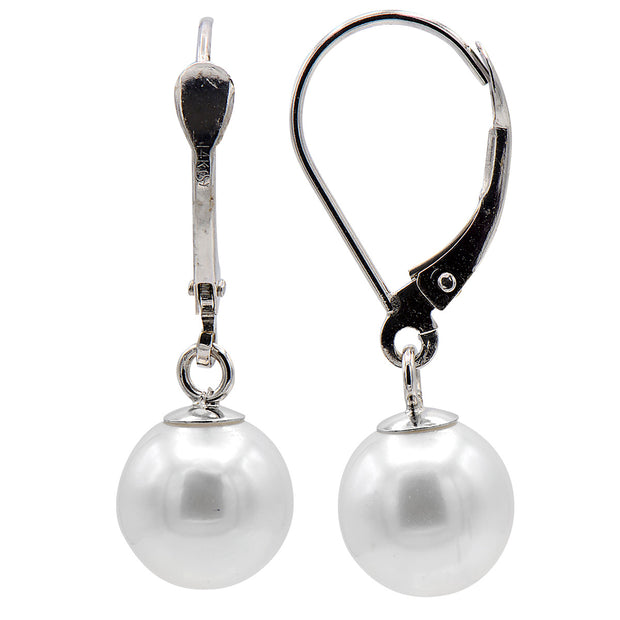DSL White Gold Freshwater Pearl Leverback Earrings