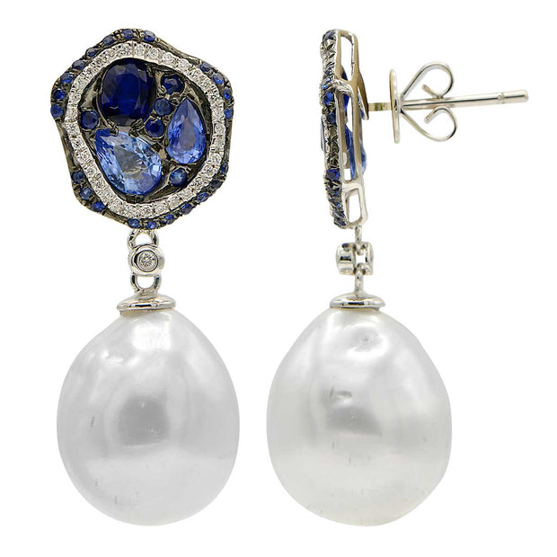 DSL South Sea Pearl & Sapphire Earrings
