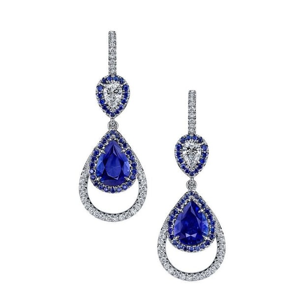 Pear-Shaped Blue Sapphire and Diamond Earrings