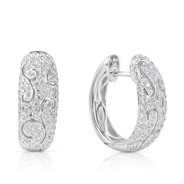 White Gold Diamond Hoop Earrings E7859WG