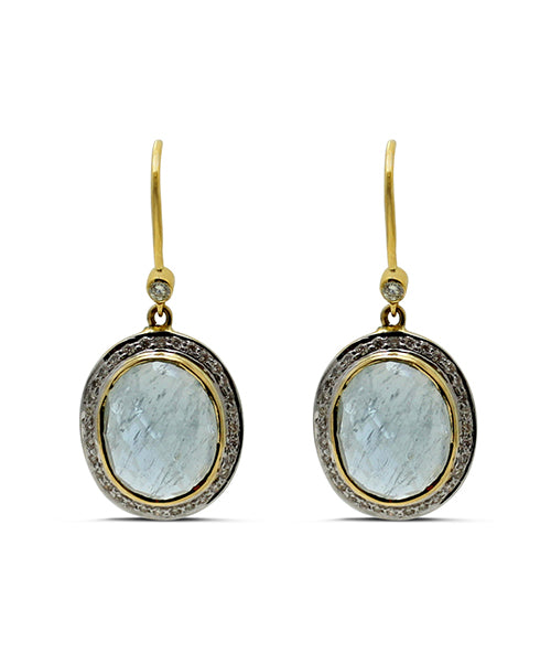 Aquamarine and Diamond 18 Karat Gold Dangle Earrings