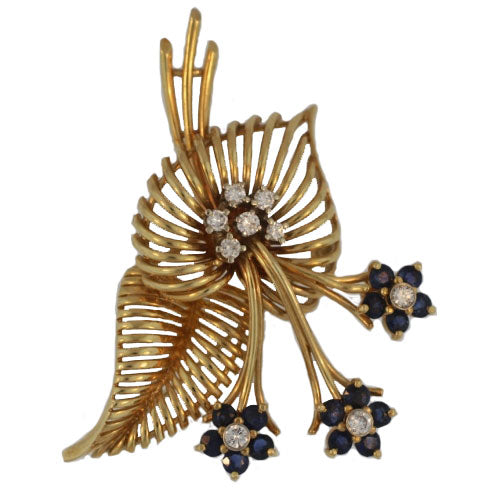 Estate Brooch with Diamonds and Sapphires