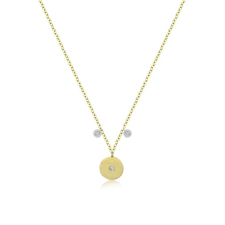 Meira T Dainty Disc Necklace with Diamonds