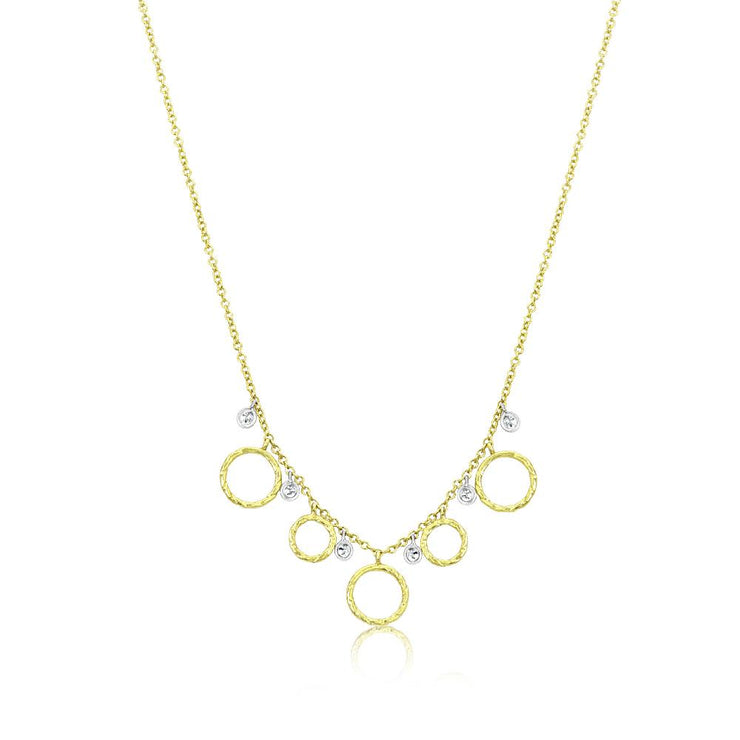 Meira T Gold Disk Necklace with Diamonds