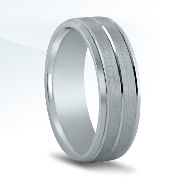 Men's 7mm White Gold Wedding Band