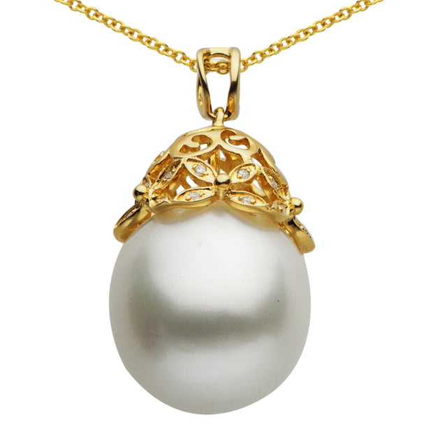 DSL Yellow Gold White South Sea Pearl Pendant