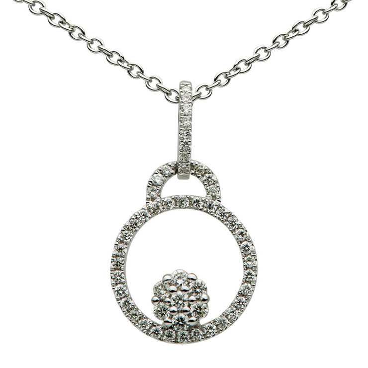 DSL White Gold Diamond Circular Pendant