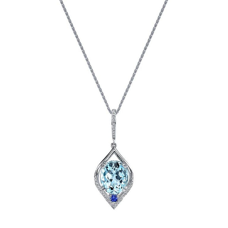 Aquamarine and Diamond Pendant with Sapphire