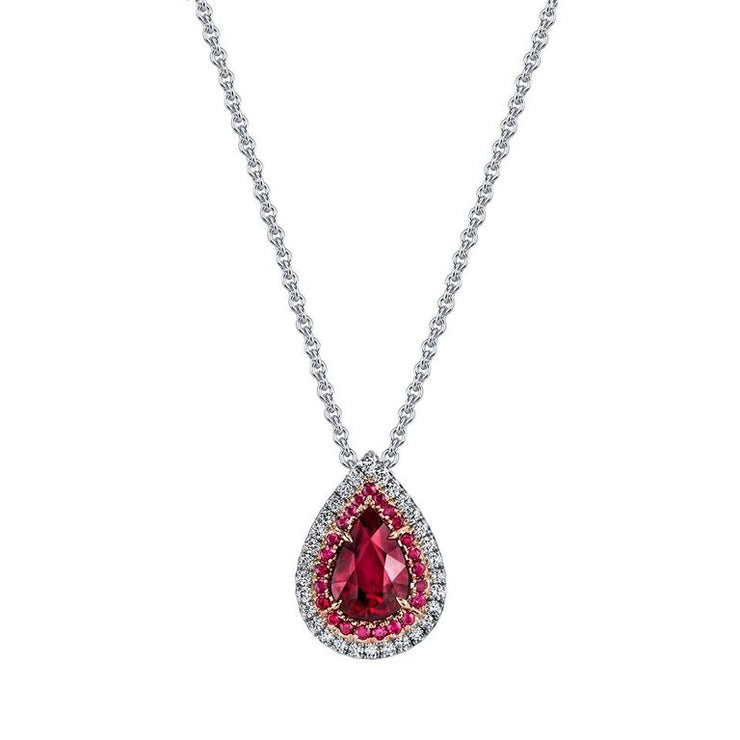 Ruby and Diamond Duet Pendant