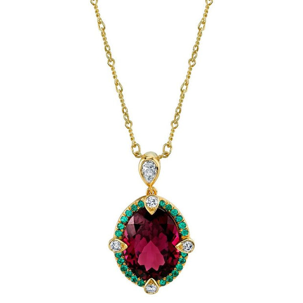 Rhodolite Garnet Pendant with Alexandrites and Diamonds
