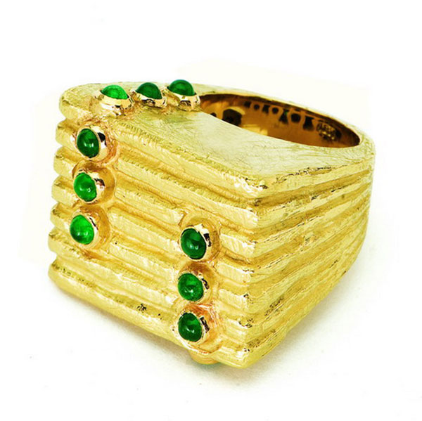 Lines & Dots Ring with Emeralds