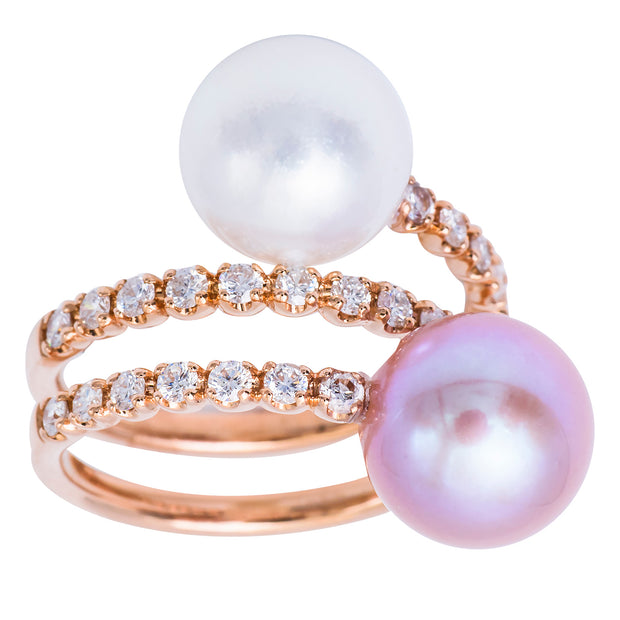 DSL South Sea & Freshwater Pearl Ring with Diamonds