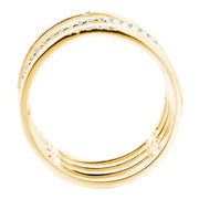 DSL Yellow Gold Diamond Bar Ring