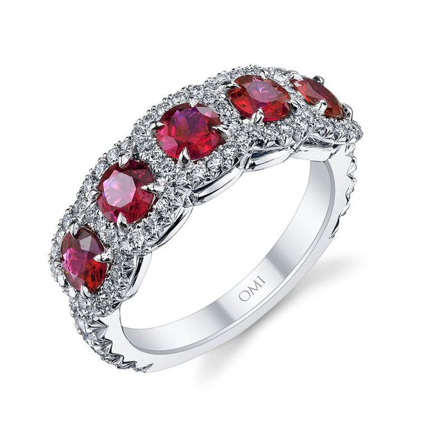 5-Stone Ruby and Diamond Ring
