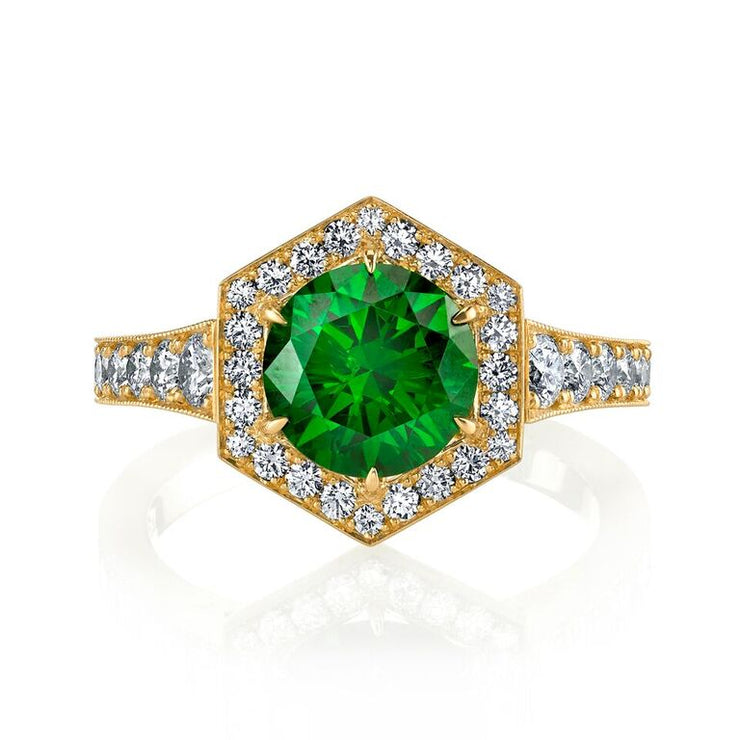 Russian Demantoid Garnet and Diamond Ring
