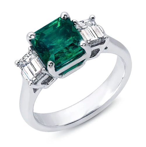 Emerald Cut Center Stone flanked by Emerald Cut Diamonds