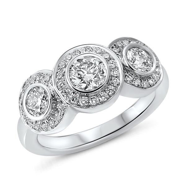 Three-Stone Channel Set Diamond Ring