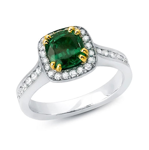 Cushion Cut Tsavorite and Diamond Halo Ring