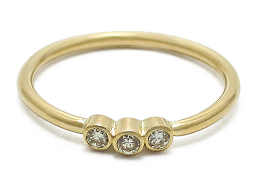 Diamond 3 Stone Ring 18 Karat Gold