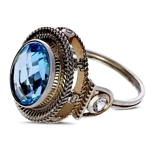 Swiss Blue Topaz, Diamond, White Sapphire 18 Karat Gold/Sterling Silver Ring