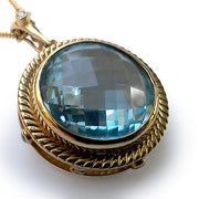 Large Blue Topaz and Diamond 18 Karat Gold Pendant/Enhancer/Brooch