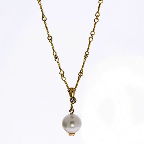 South Sea Pearl and Diamond 18 Karat Gold Necklace