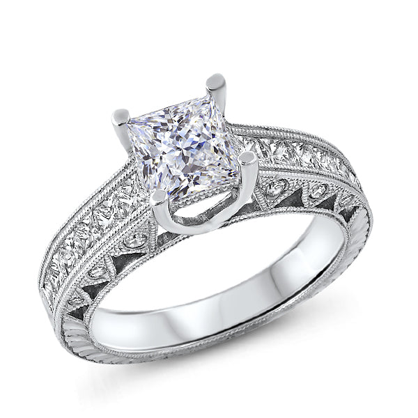 Princess Cut Solitaire with Diamond Shank and Carved Detail
