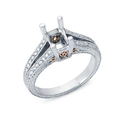 Solitaire Engagement Ring for an Emerald Cut Diamond with Diamonds in the Split Shank