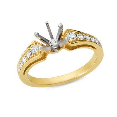 Solitaire Engagement Ring with Round Diamonds Bead Set in the Shank
