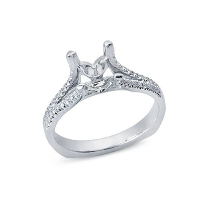 Solitaire Engagement Ring with a Split Shank of Diamonds