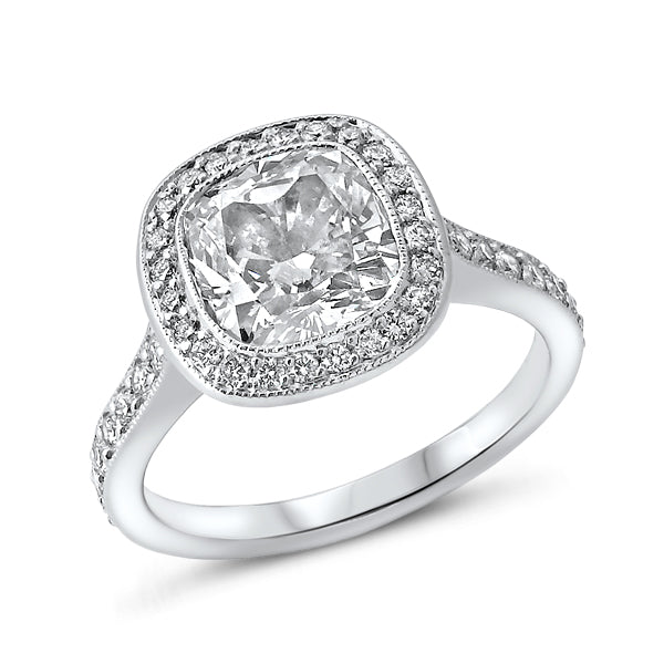 Cushion-Cut Solitaire with Channel Set Halo