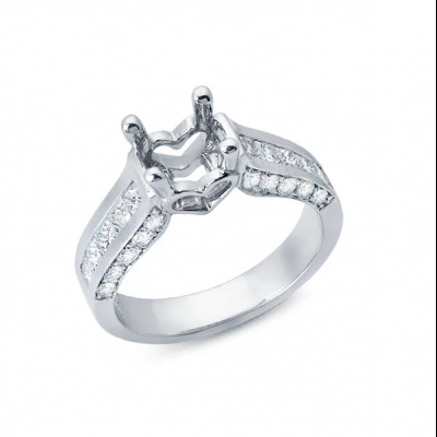 Solitaire Engagement Ring with Channel Set Diamonds
