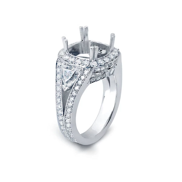 Halo Ring with Split Shank with Accent Diamonds in the Split
