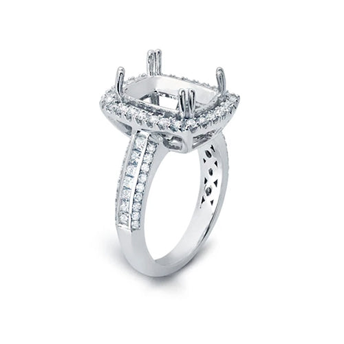 Halo Ring with Diamonds on Three Sides of the Shank