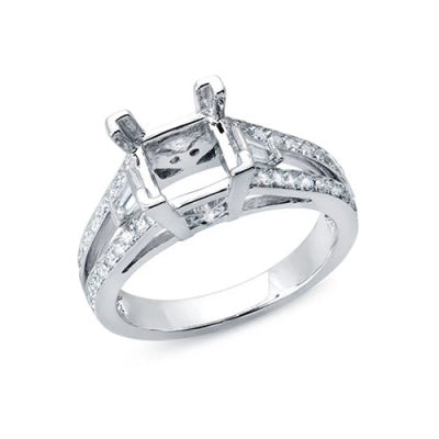 Solitaire Engagement ring for a Princess Cut Diamond with a Split Shank of Diamonds