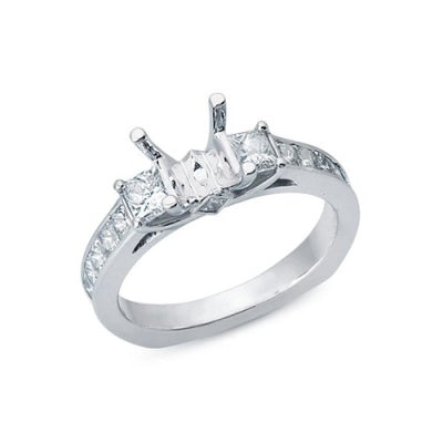 Solitaire Engagement Ring with Princess Cut Diamonds