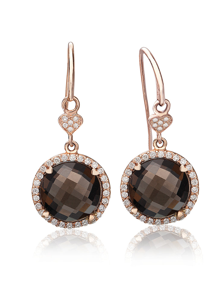 Lisa Nik 18k Rose Gold Round Smokey Quartz and Diamond Earrings