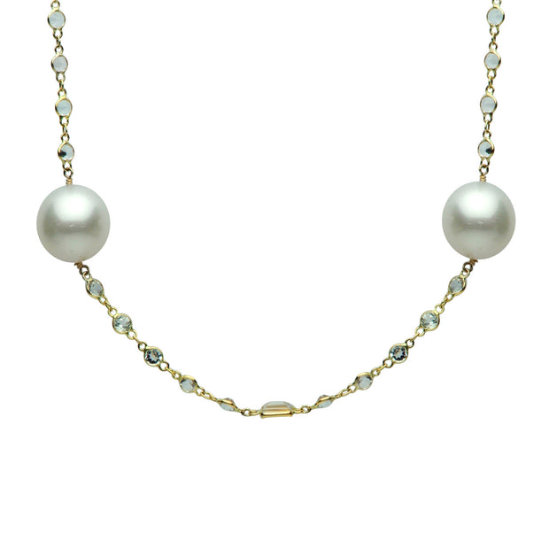 DSL White South Sea Pearl & White Topaz Necklace