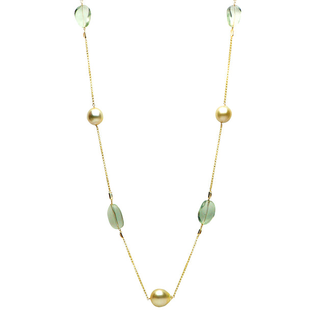 DSL Golden Pearl, Green Amethyst & White Topaz Necklace