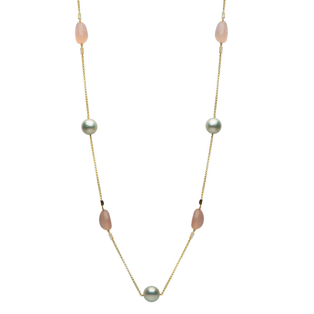 DSL South Sea Pearl, White Topaz & Rose Quartz Necklace