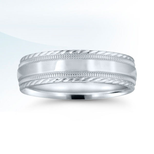 Men's 6mm White Gold Traditional Wedding Band