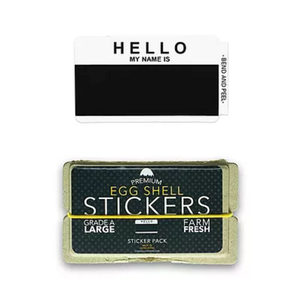 EggShellStickersSingle Blank Pack Hello Black