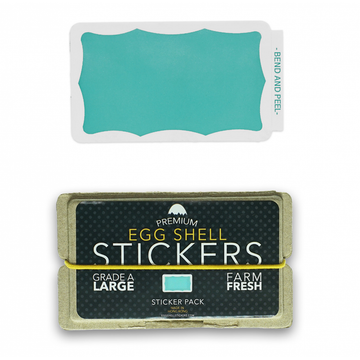 EggShellStickersSingle Blank Pack Teal Wavy Border