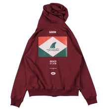 Load image into Gallery viewer, Unkl347 Beach Club Shark Attack Zip Maroon Hoodie
