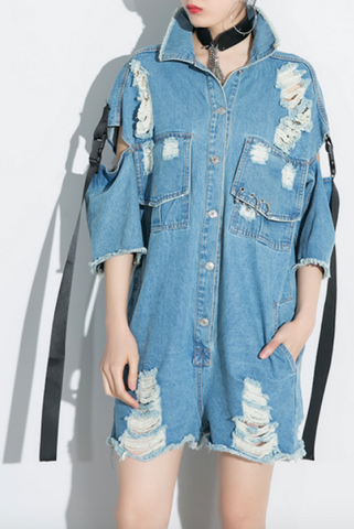 denim mechanic romper