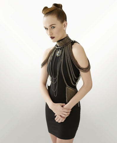model wearing body chain by kate hewko