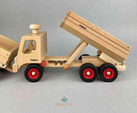 Fagus wooden toys. Container tipper truck highest setting for truck bed. Third setting