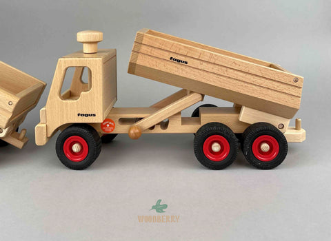 Fagus Wooden toys. Container Tipper Truck 1st level of tilting truck bed/ cargo area
