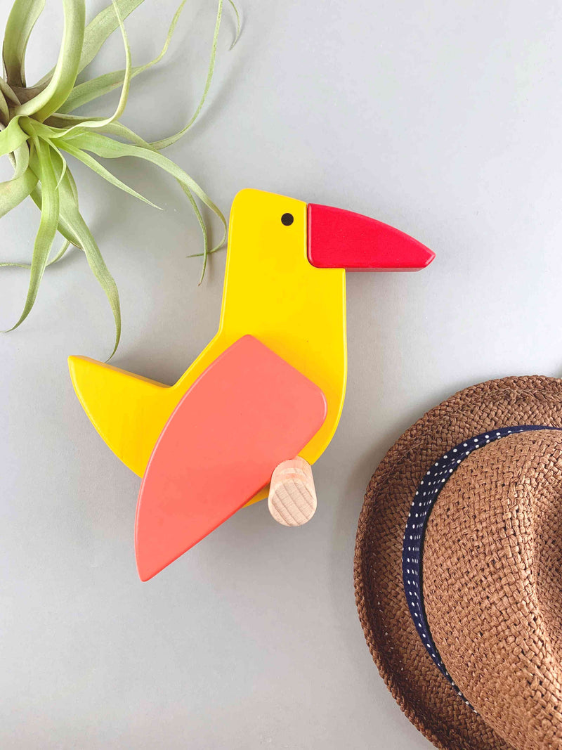 Woodberry Bajo Yellowbird Wooden Wall Hanging Peg R